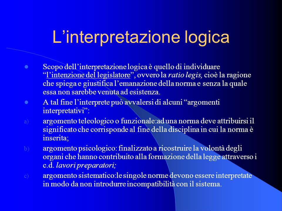 L'interpretazione logica