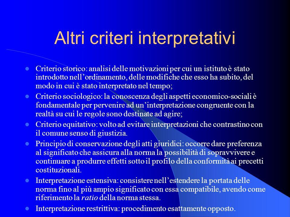 Altri criteri interpretativi