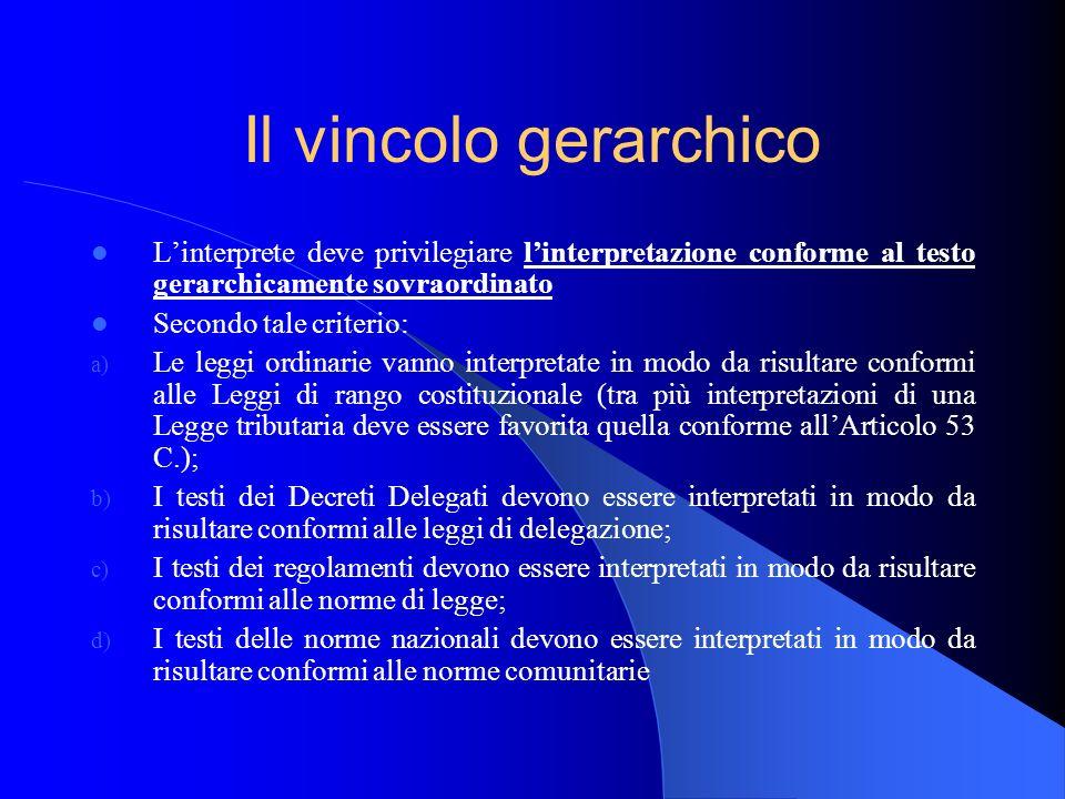 Il vincolo gerarchico L'interprete deve privilegiare l'interpretazione conforme al testo gerarchicamente sovraordinato.