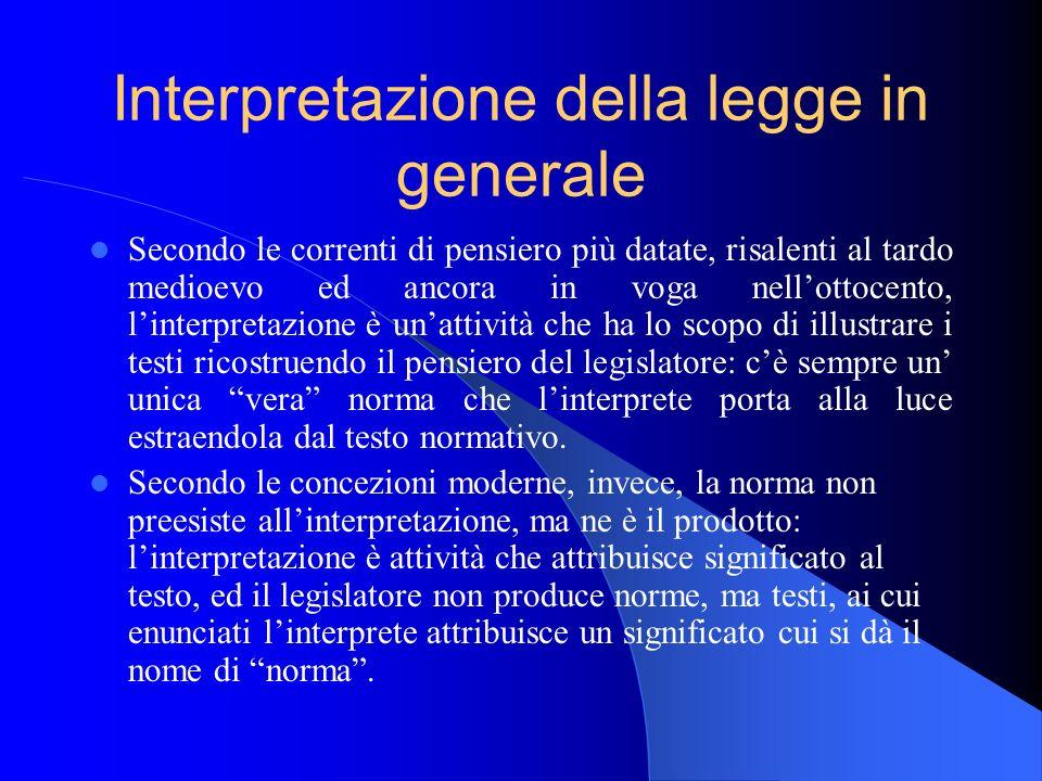 Interpretazione della legge in generale
