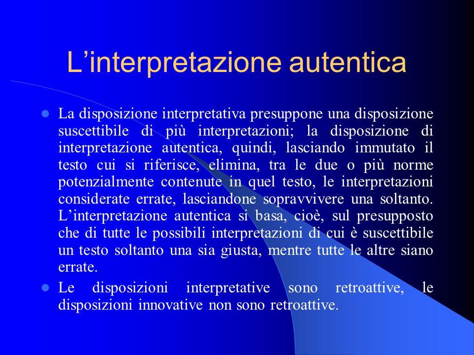 L'interpretazione autentica