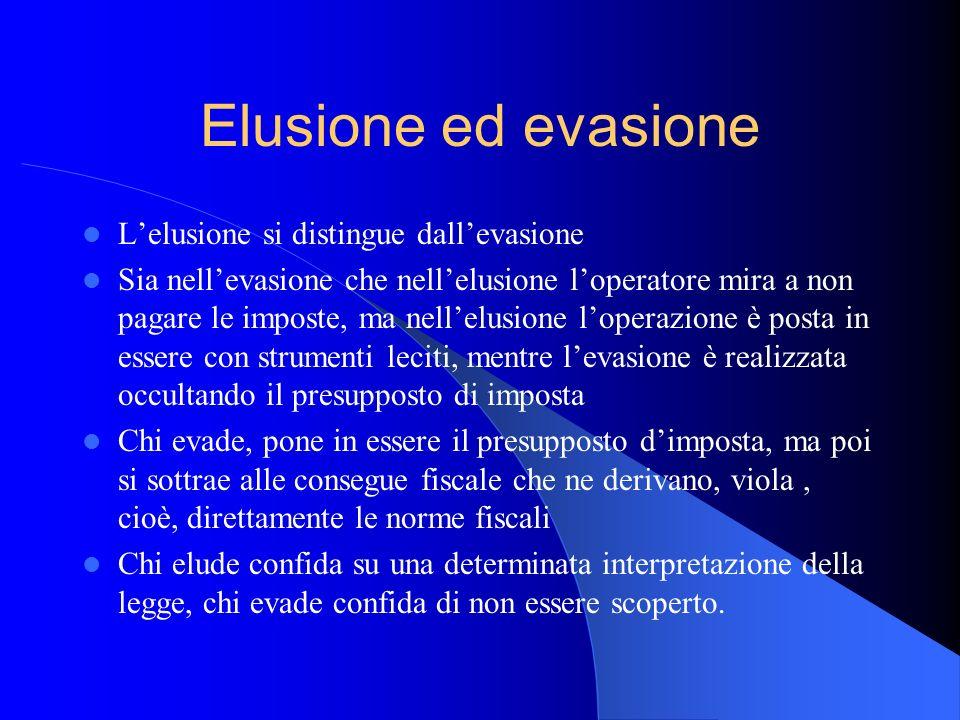 Elusione ed evasione L'elusione si distingue dall'evasione