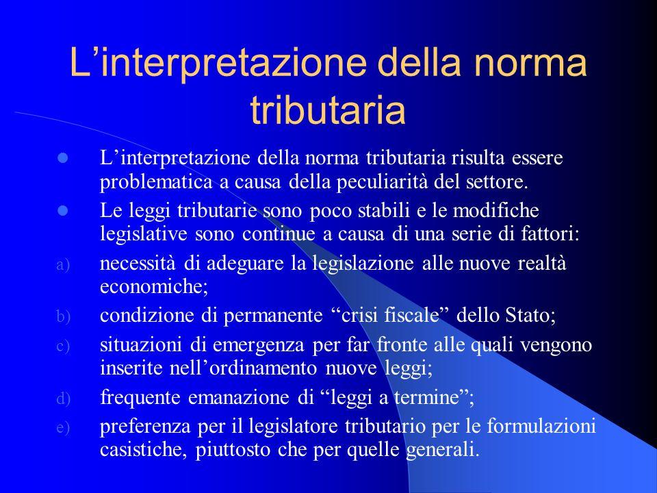 L'interpretazione della norma tributaria