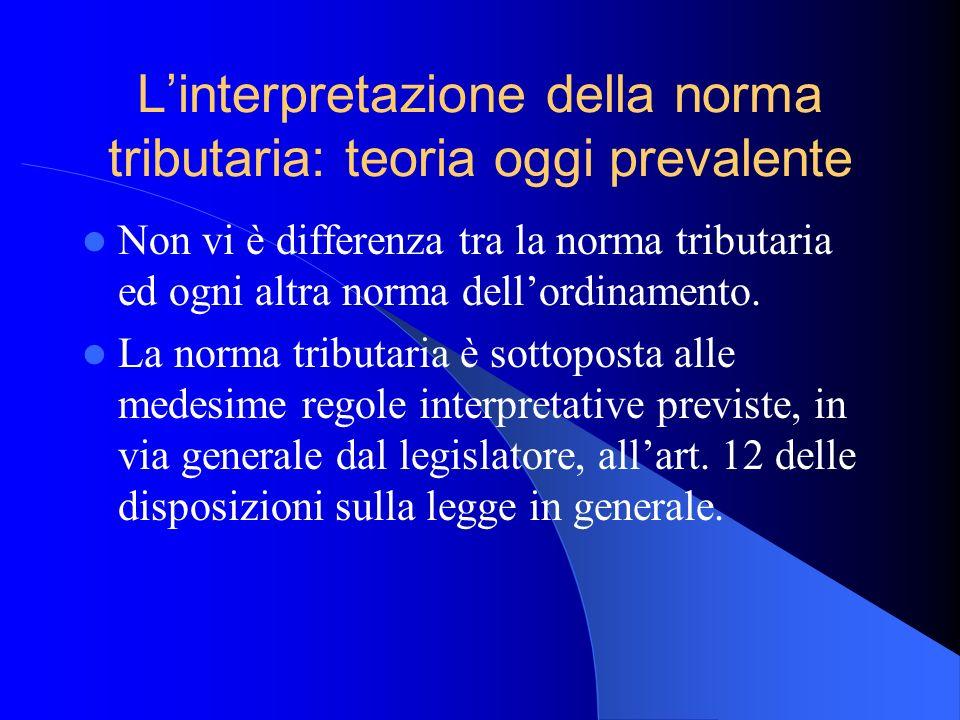 L'interpretazione della norma tributaria: teoria oggi prevalente