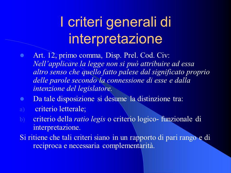 I criteri generali di interpretazione