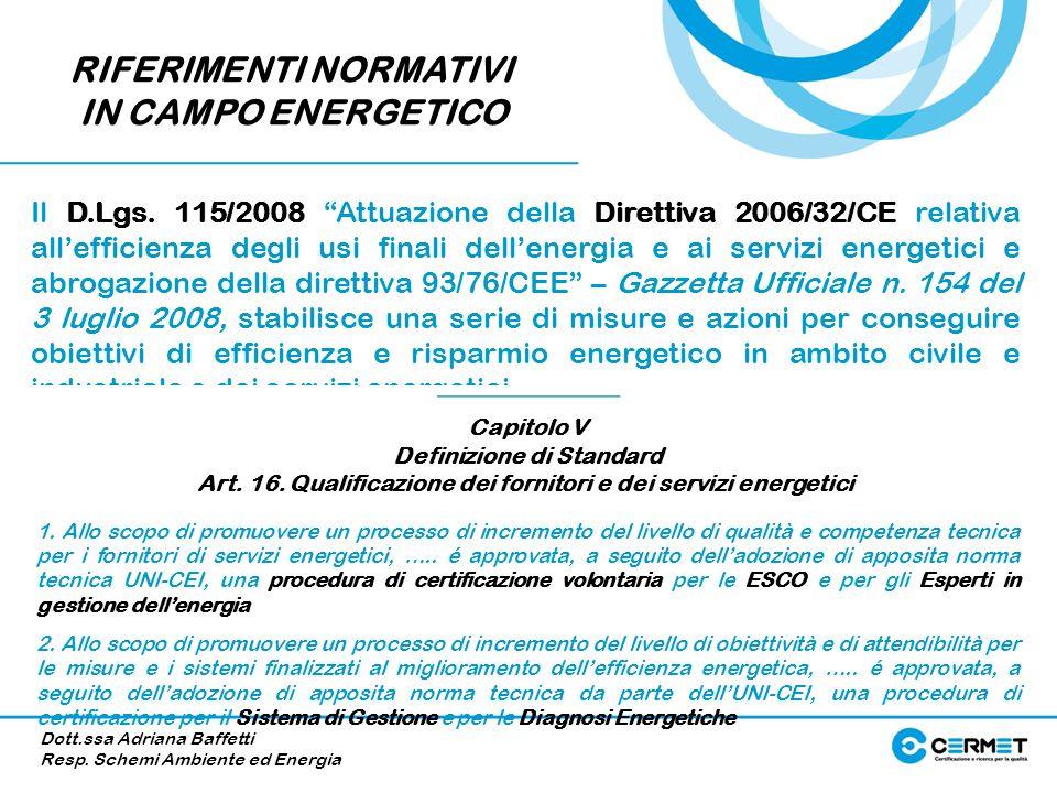 RIFERIMENTI NORMATIVI IN CAMPO ENERGETICO
