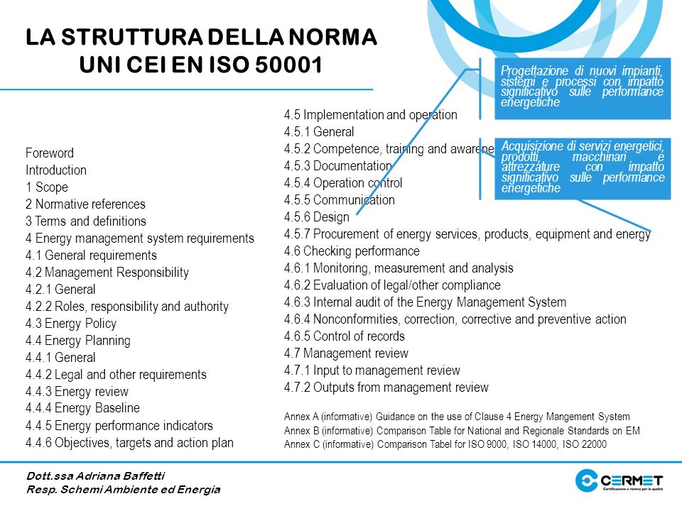 LA STRUTTURA DELLA NORMA UNI CEI EN ISO 50001
