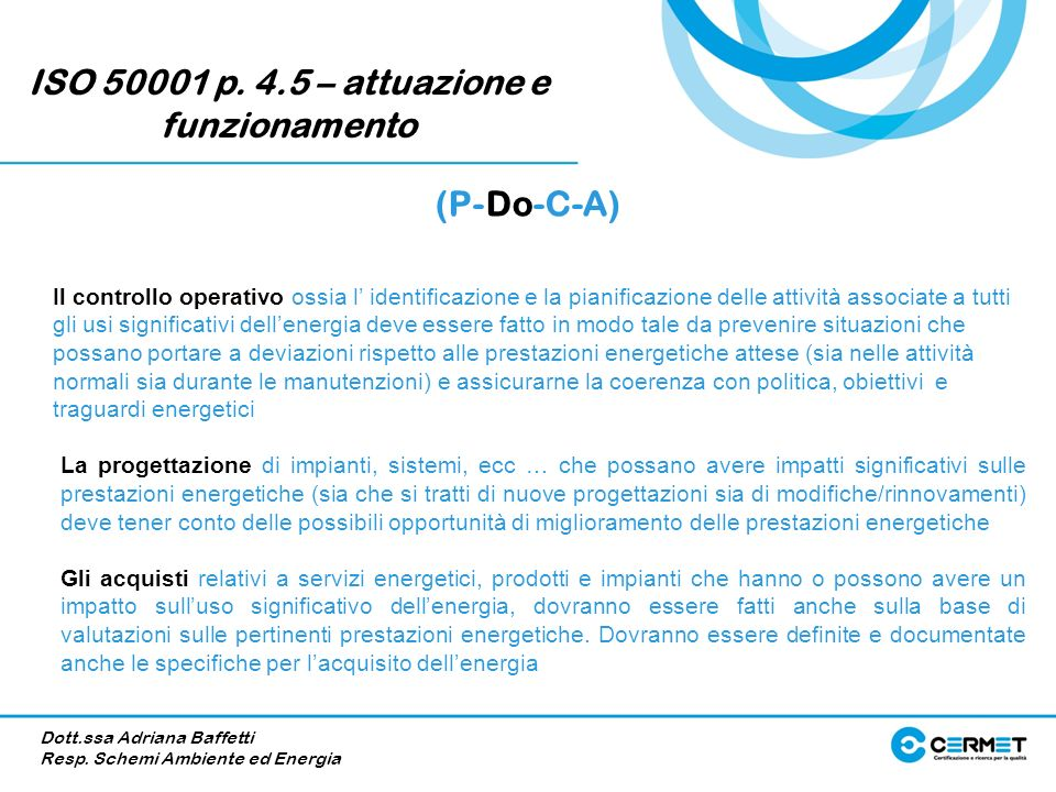 ISO 50001 p. 4.5 – attuazione e funzionamento