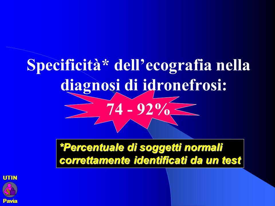 Specificità* dell'ecografia nella diagnosi di idronefrosi: 74 - 92%