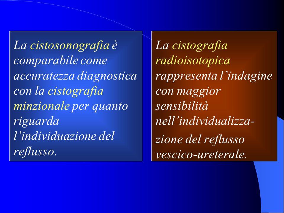 La cistosonografia è comparabile come accuratezza diagnostica con la cistografia minzionale per quanto riguarda l'individuazione del reflusso.