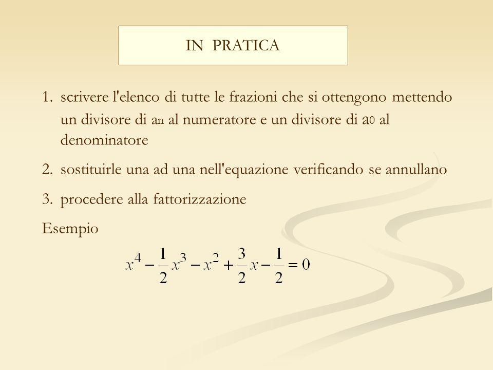 IN PRATICA scrivere l elenco di tutte le frazioni che si ottengono mettendo un divisore di an al numeratore e un divisore di a0 al denominatore.