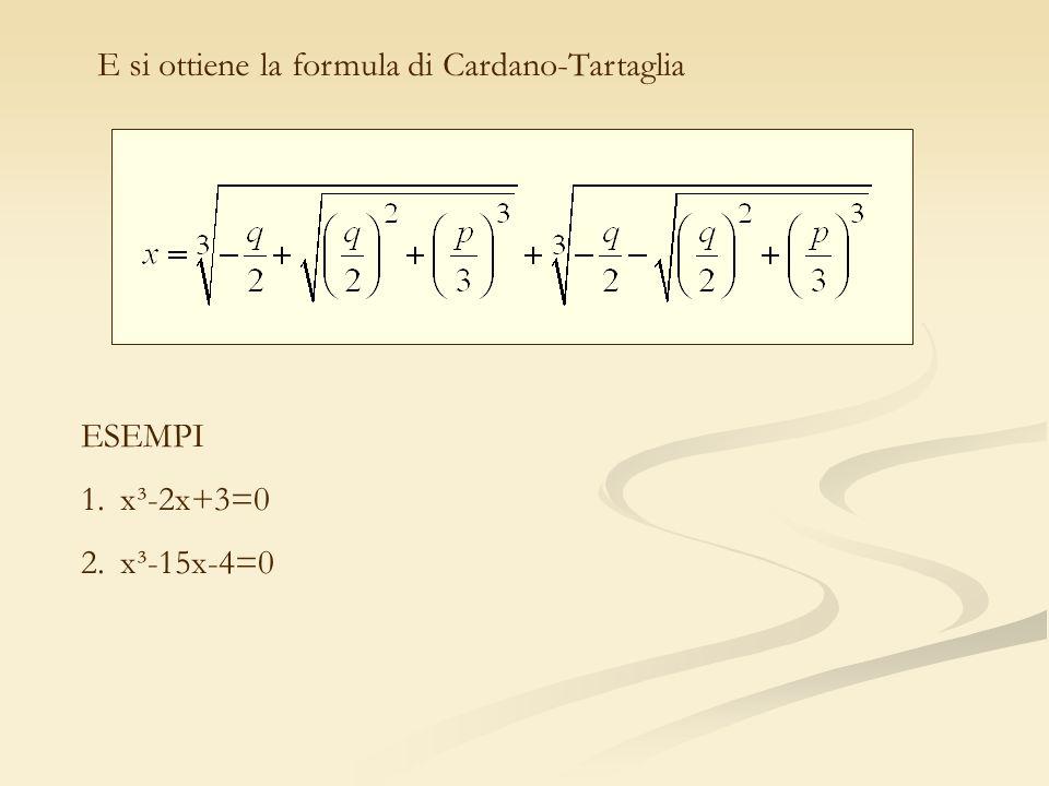 E si ottiene la formula di Cardano-Tartaglia