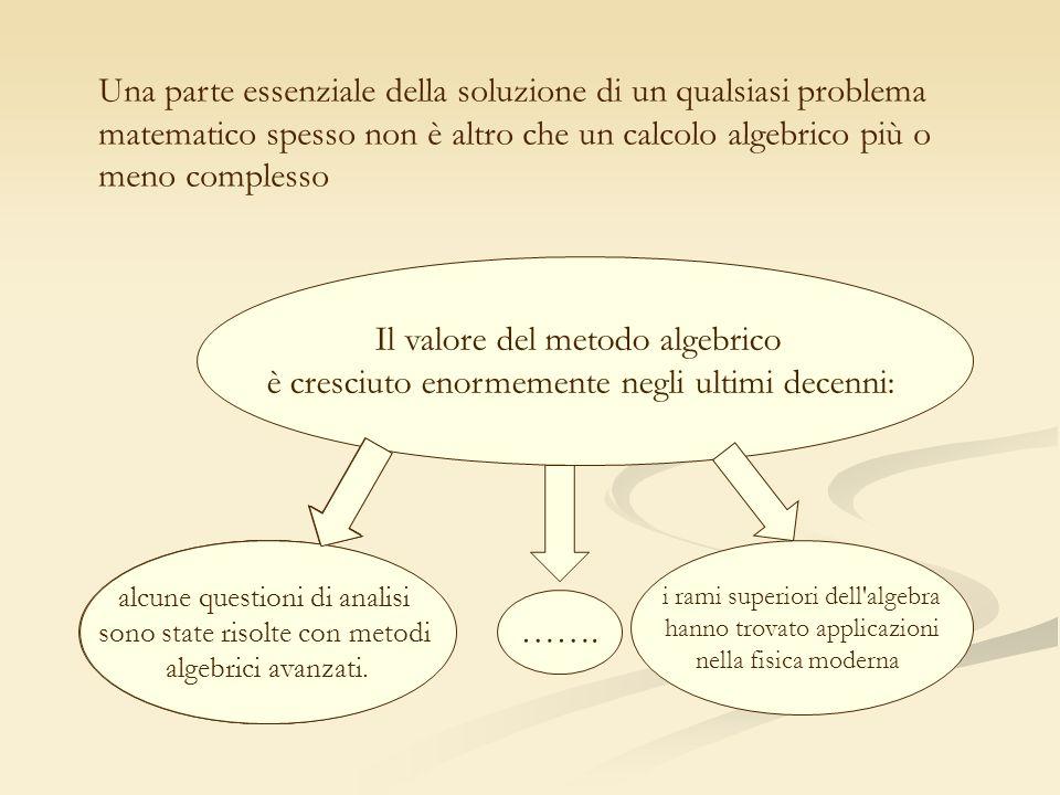 Il valore del metodo algebrico