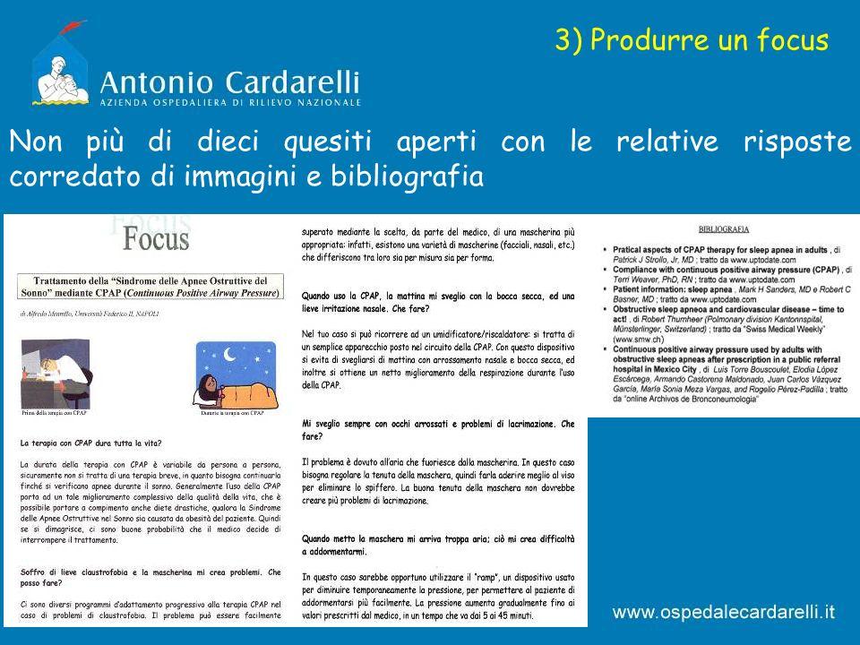 3) Produrre un focus Non più di dieci quesiti aperti con le relative risposte corredato di immagini e bibliografia.