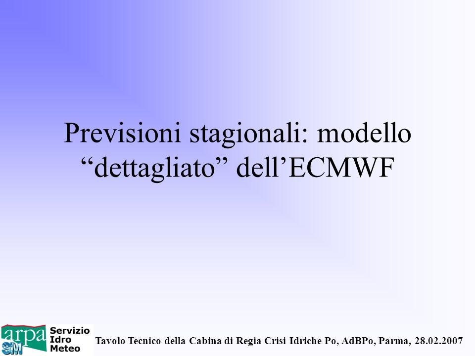 Previsioni stagionali: modello dettagliato dell'ECMWF