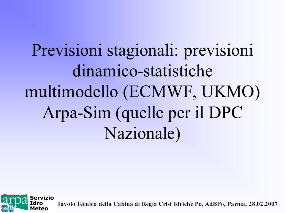 Previsioni stagionali: previsioni dinamico-statistiche multimodello (ECMWF, UKMO) Arpa-Sim (quelle per il DPC Nazionale)
