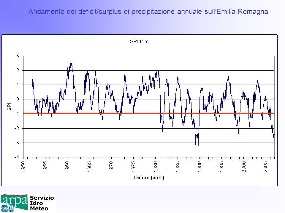 Andamento del deficit/surplus di precipitazione annuale sull'Emilia-Romagna