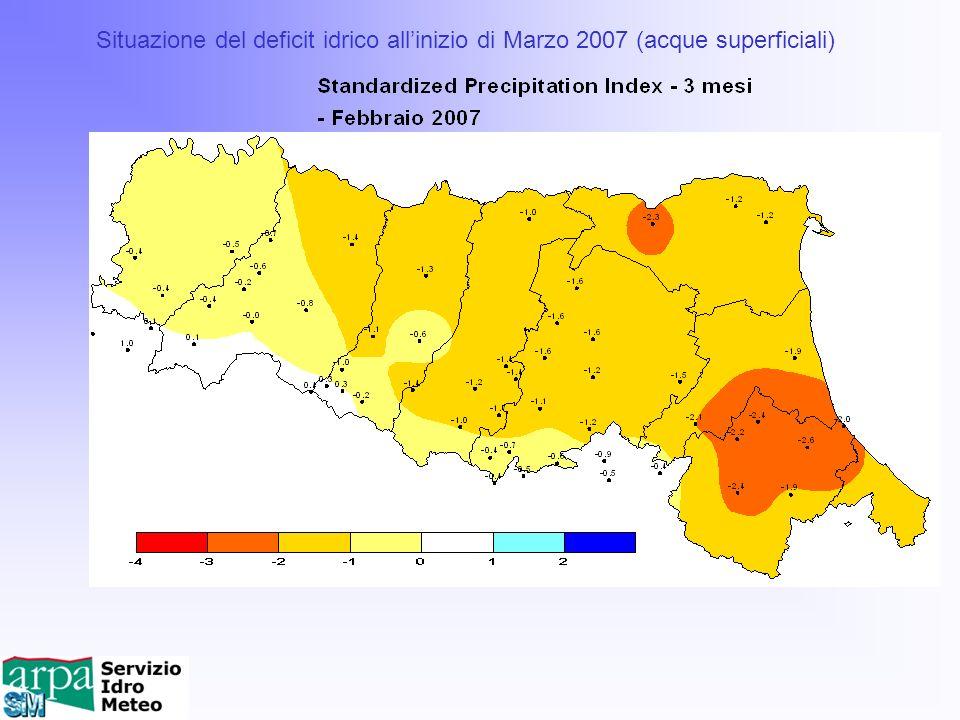 Situazione del deficit idrico all'inizio di Marzo 2007 (acque superficiali)