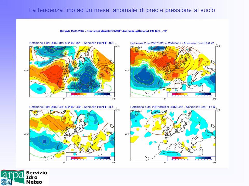 La tendenza fino ad un mese, anomalie di prec e pressione al suolo