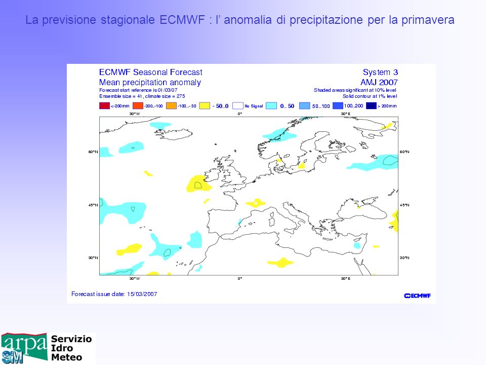 La previsione stagionale ECMWF : l' anomalia di precipitazione per la primavera