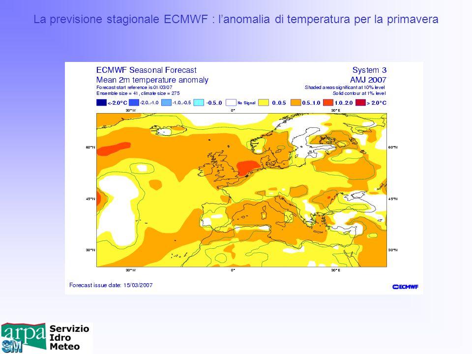 La previsione stagionale ECMWF : l'anomalia di temperatura per la primavera