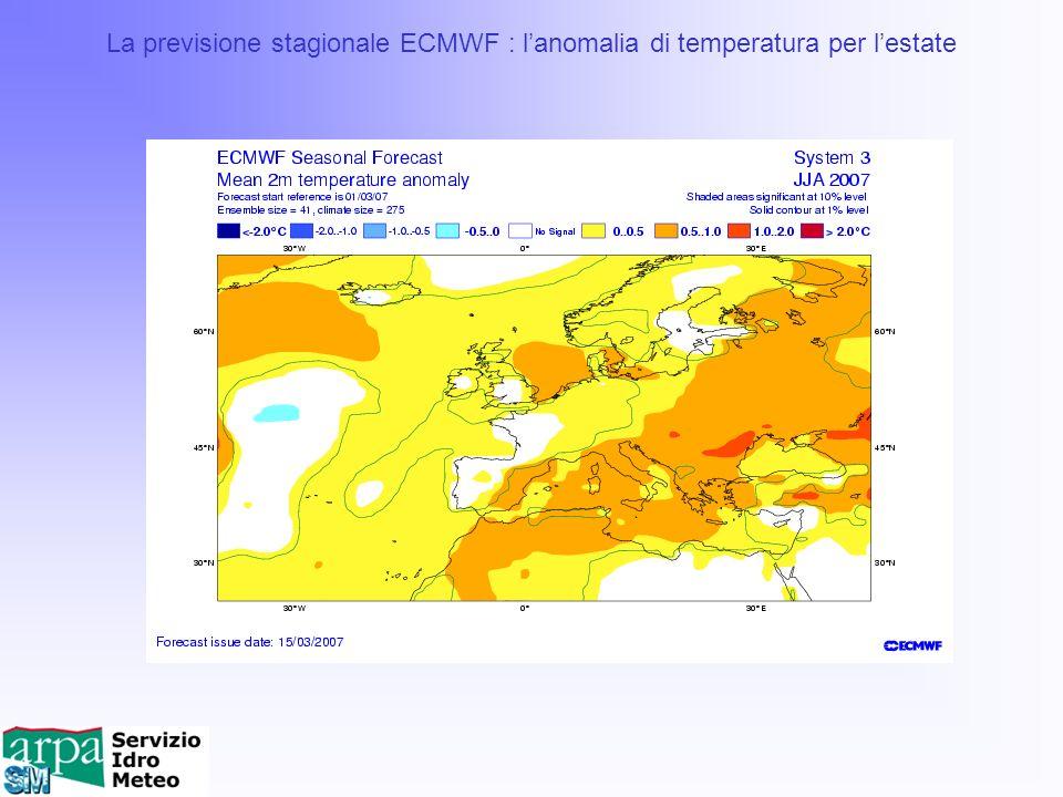La previsione stagionale ECMWF : l'anomalia di temperatura per l'estate