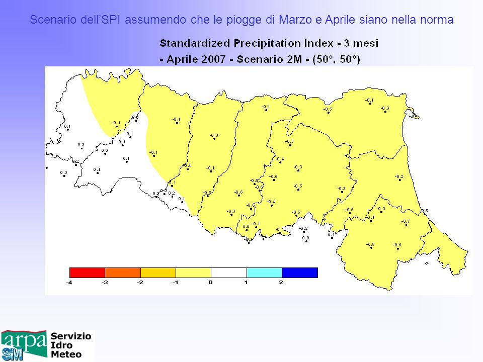 Scenario dell'SPI assumendo che le piogge di Marzo e Aprile siano nella norma