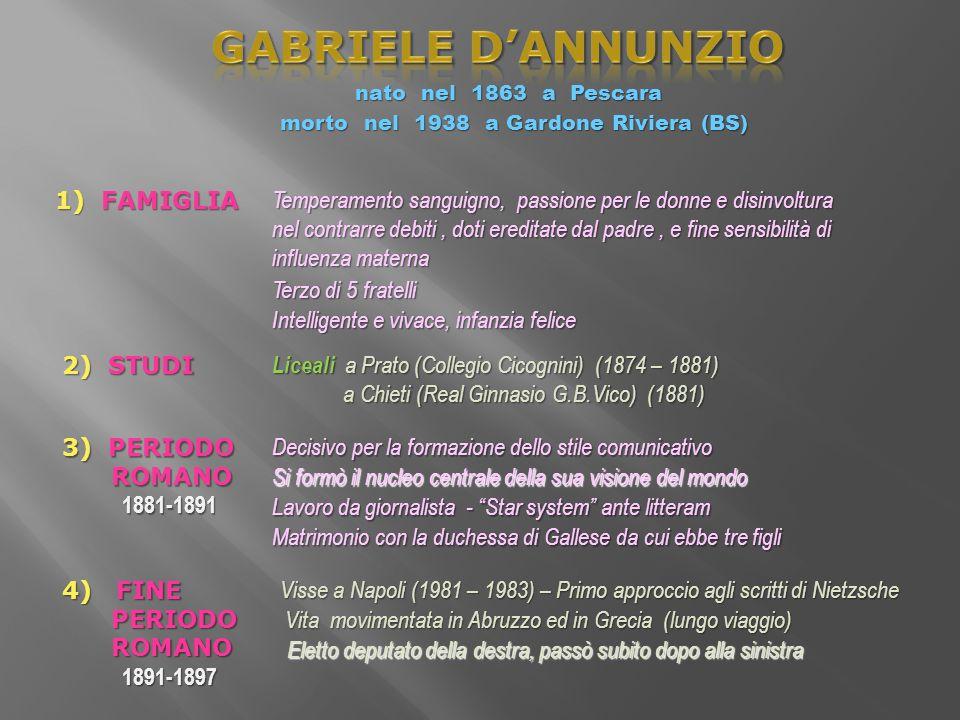 GABRIELE D'ANNUNZIO 1) FAMIGLIA