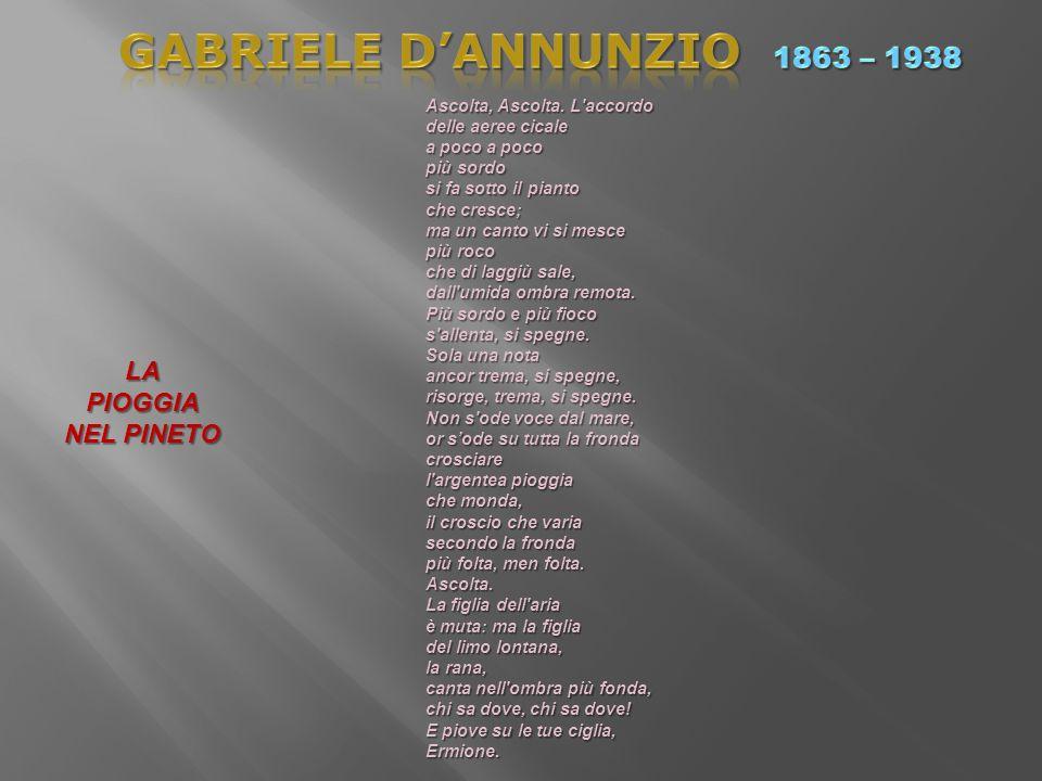 GABRIELE D'ANNUNZIO 1863 – 1938 LA PIOGGIA NEL PINETO