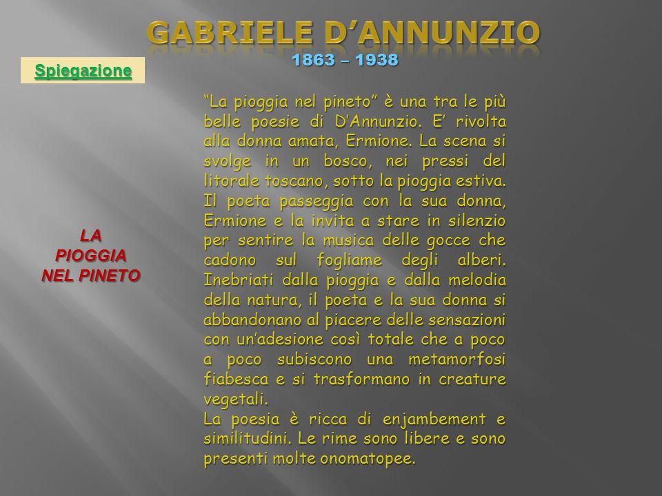 GABRIELE D'ANNUNZIO 1863 – 1938 Spiegazione