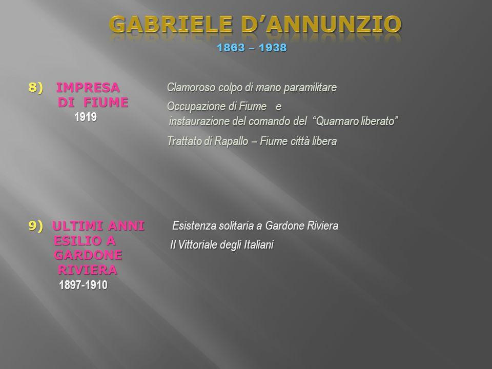 GABRIELE D'ANNUNZIO 8) IMPRESA DI FIUME 1919