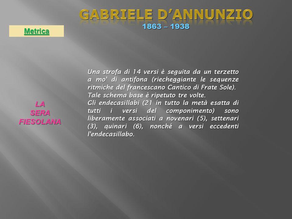 GABRIELE D'ANNUNZIO 1863 – 1938 Metrica LA SERA FIESOLANA
