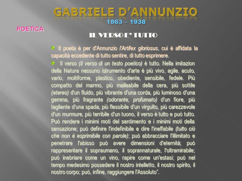 GABRIELE D'ANNUNZIO IL VERSO E' TUTTO 1863 – 1938 POETICA