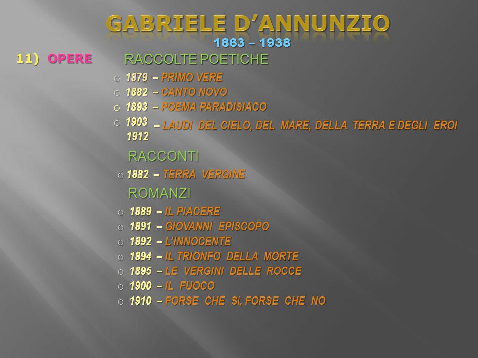 GABRIELE D'ANNUNZIO RACCOLTE POETICHE RACCOLTE POETICHE RACCONTI