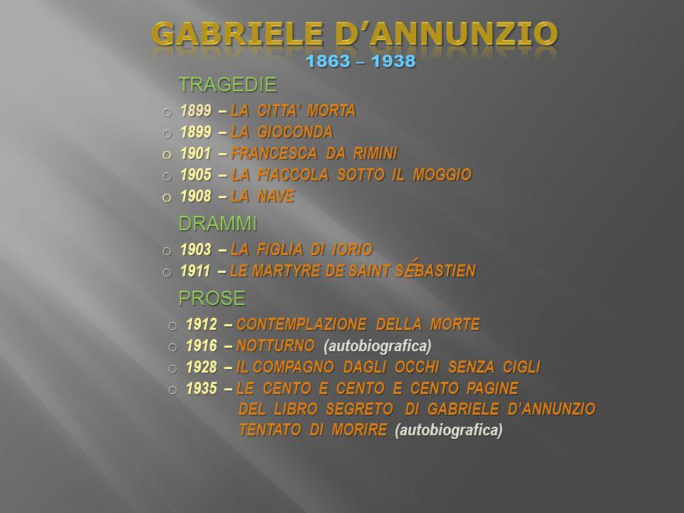 GABRIELE D'ANNUNZIO TRAGEDIE DRAMMI PROSE 1863 – 1938