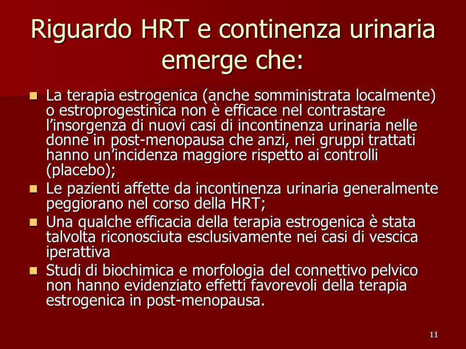 Riguardo HRT e continenza urinaria emerge che: