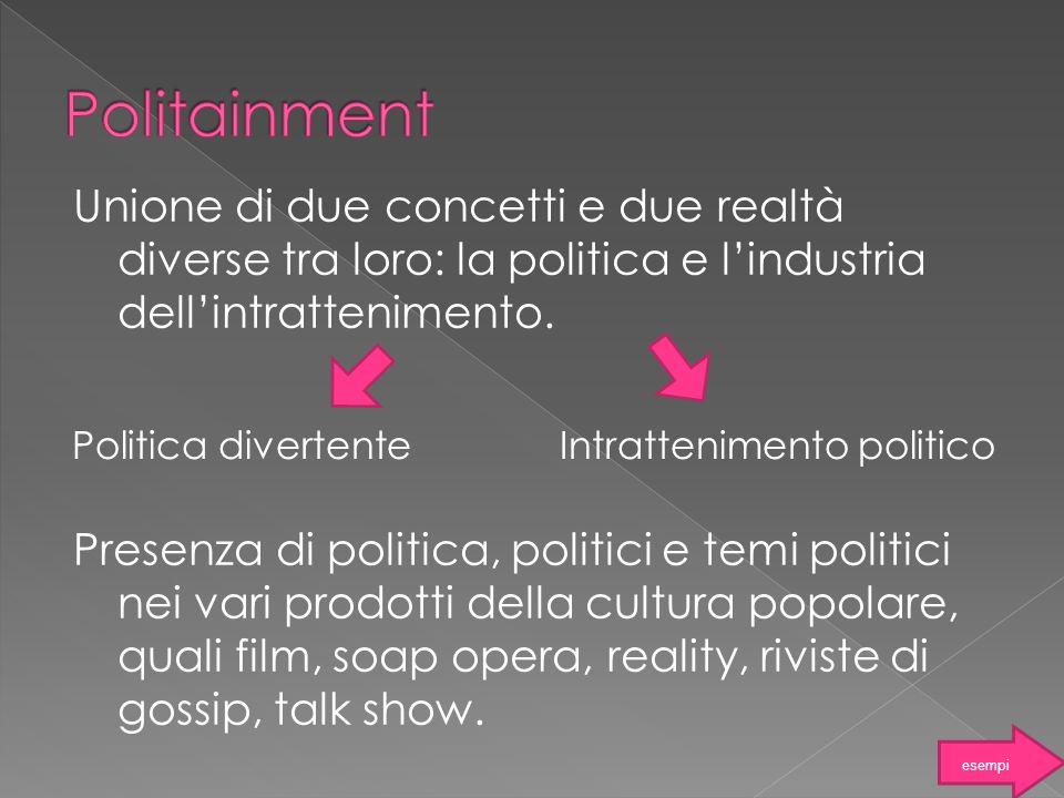 Politainment Unione di due concetti e due realtà diverse tra loro: la politica e l'industria dell'intrattenimento.