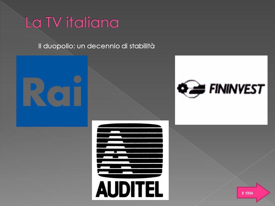 La TV italiana Il duopolio: un decennio di stabilità Il 1994