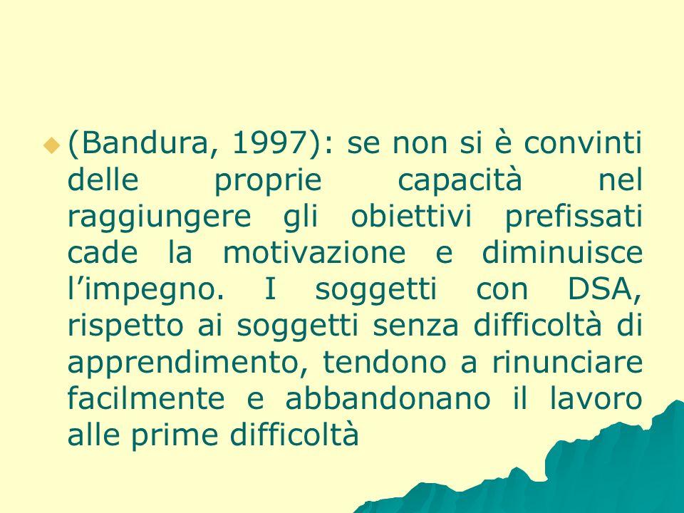 (Bandura, 1997): se non si è convinti delle proprie capacità nel raggiungere gli obiettivi prefissati cade la motivazione e diminuisce l'impegno.