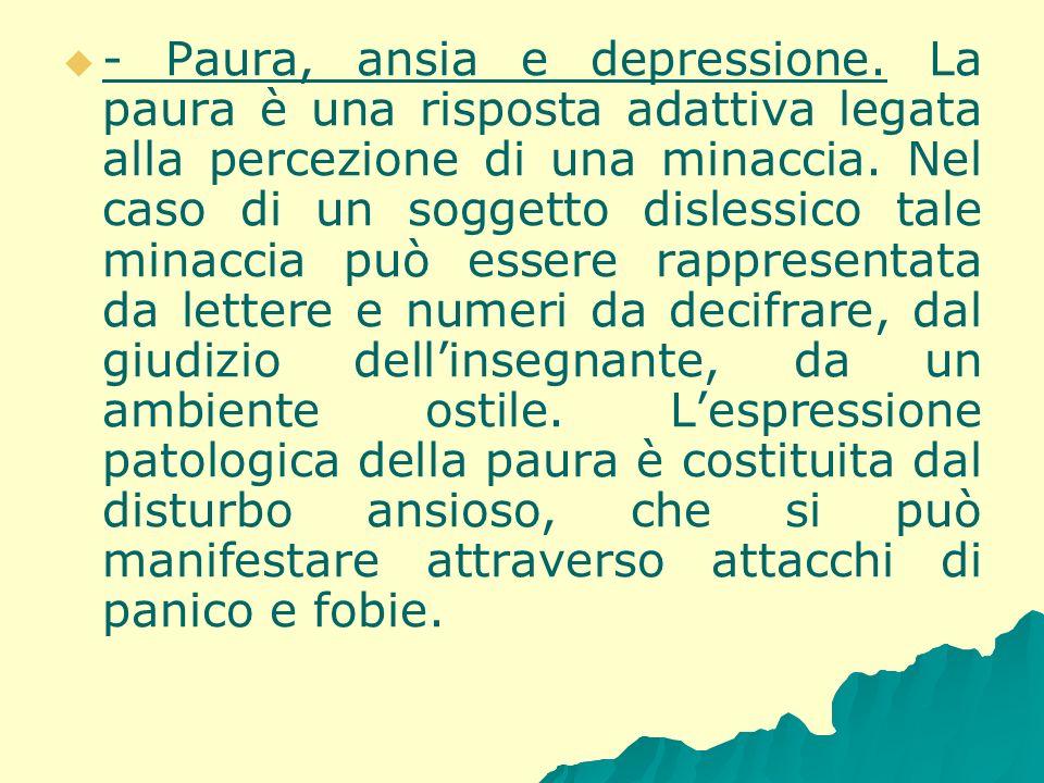 - Paura, ansia e depressione