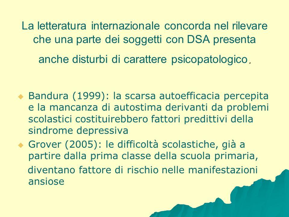 La letteratura internazionale concorda nel rilevare che una parte dei soggetti con DSA presenta anche disturbi di carattere psicopatologico.