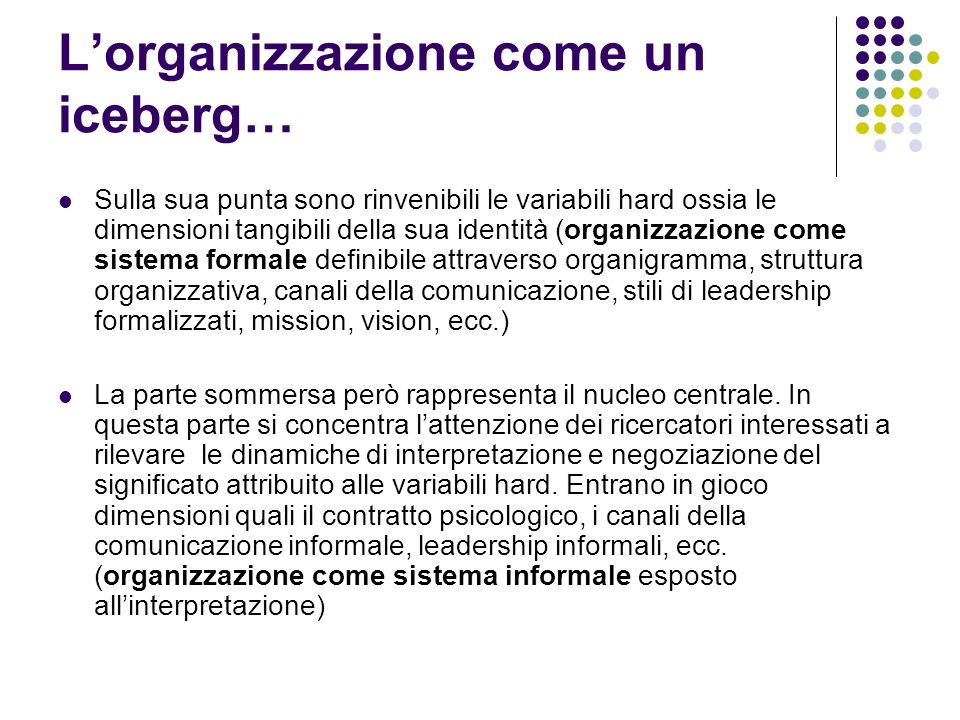 L'organizzazione come un iceberg…
