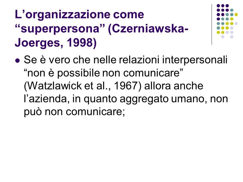 L'organizzazione come superpersona (Czerniawska-Joerges, 1998)