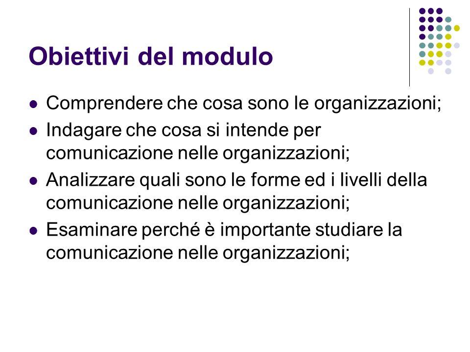 Obiettivi del modulo Comprendere che cosa sono le organizzazioni;
