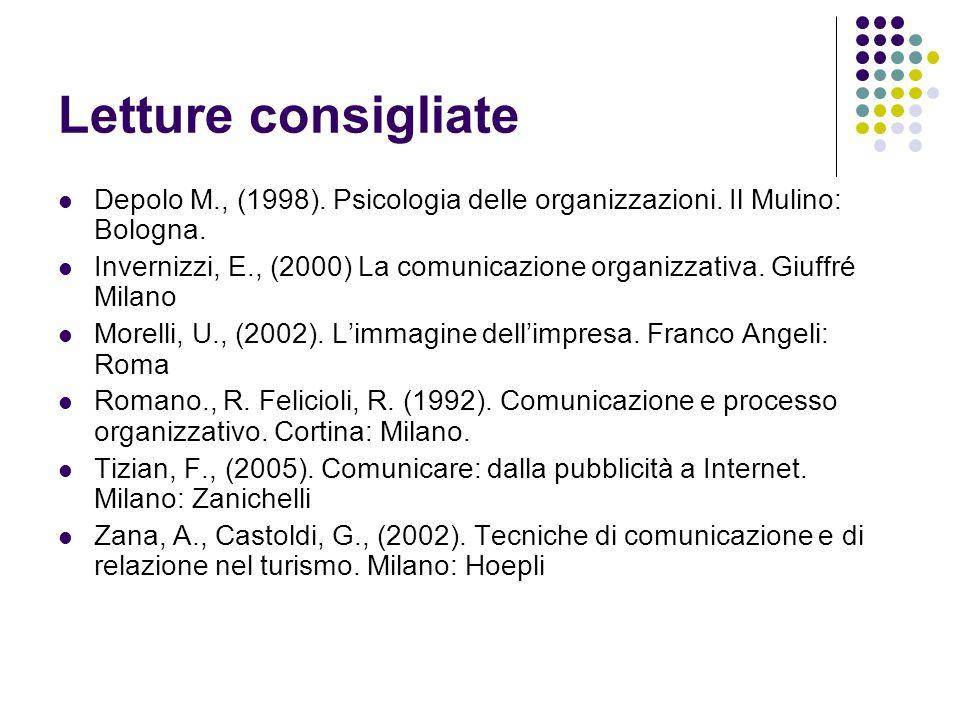 Letture consigliate Depolo M., (1998). Psicologia delle organizzazioni. Il Mulino: Bologna.