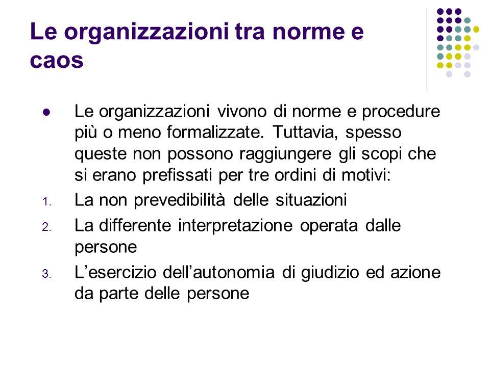 Le organizzazioni tra norme e caos