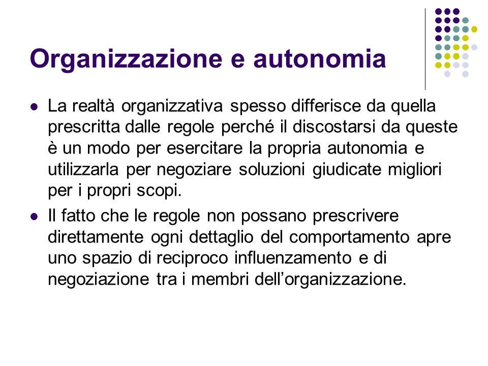 Organizzazione e autonomia