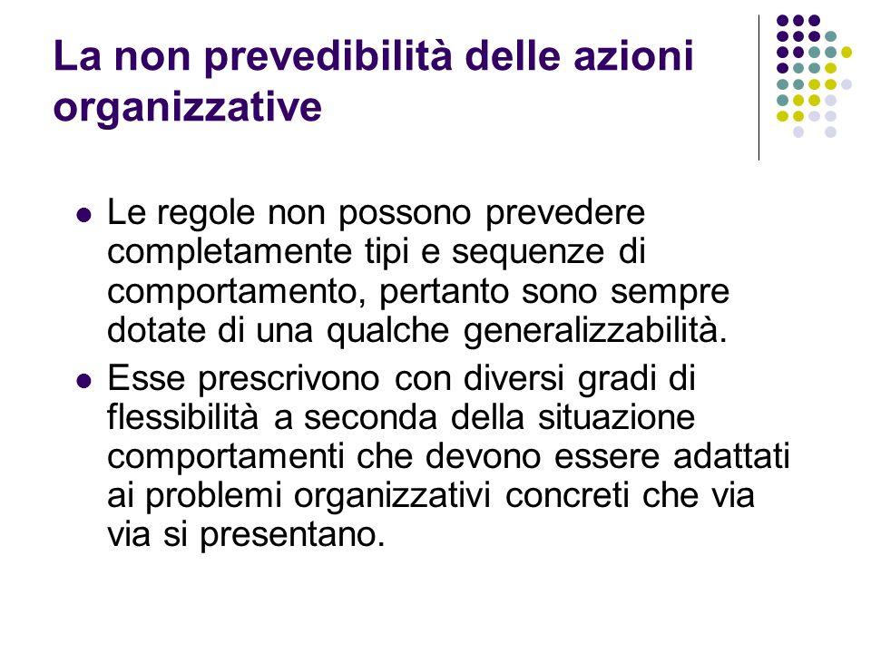 La non prevedibilità delle azioni organizzative