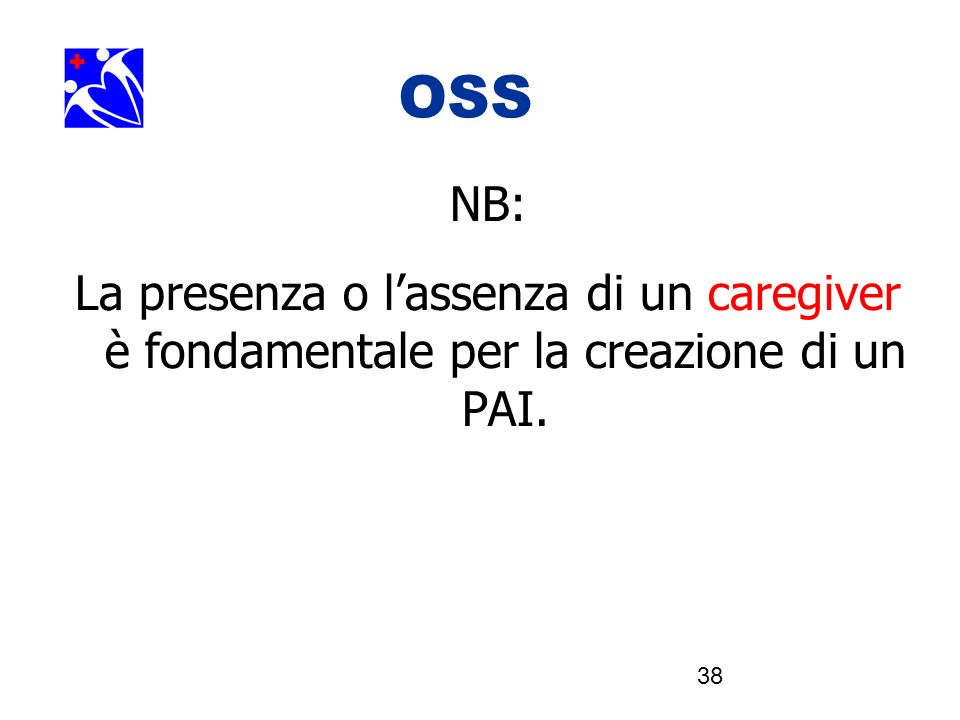 OOSSSS NB: La presenza o l'assenza di un caregiver è fondamentale per la creazione di un PAI.