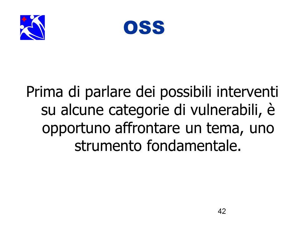 OOSSSS Prima di parlare dei possibili interventi su alcune categorie di vulnerabili, è opportuno affrontare un tema, uno strumento fondamentale.